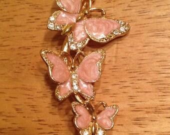 Vintage Pink Butterfly Trio Brooch