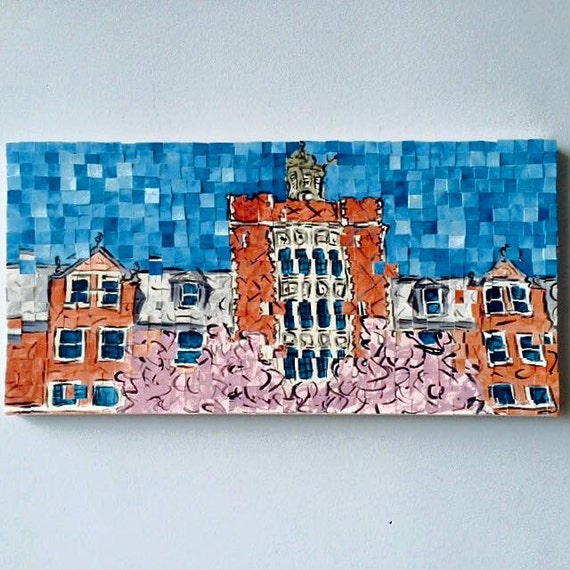 "Wellesley College - Architectural Art: 10""x20"" Original Painting"