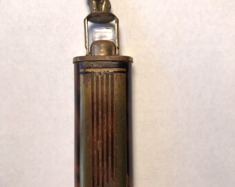 Vintage PERFUME FLASK Art Deco Enamel Brass Elephant Brown Antique Bottle