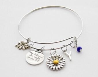 Custom Bangle Bracelet, Quote Bangle, She Believed Bracelet, Lucky Bracelet, Initial Bangle, Grad Gift, She believed she could bracelet