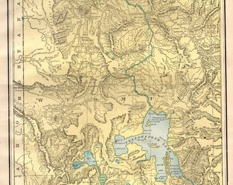 1892 Antique YELLOWSTONE National Park Map Of Yellowstone Wyoming Vintage Collectible Map Collector Gift For Wedding Birthday 8148