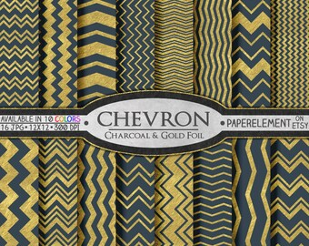 Charcoal Gray Digital Scrapbook Paper - Chevron Digital Paper for Graduation and Men's Birthdays - Instant Download