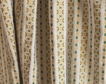 "Hand block printed curtain - White, emerald and gold Print curtains 47""w x 92"""