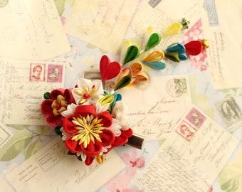 Kanzashi, floral hair clip, Kimono Accessories, Kanzashi Hair Clip, kanzashi hair flower, kanzashi hair clip, flower hair clip for kimono,
