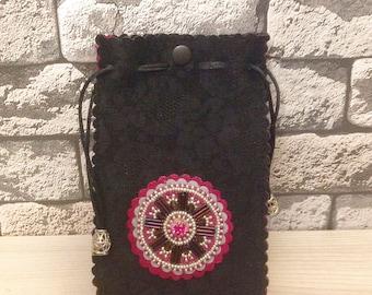 Leather Mini Black Bag Cellphone Pouch Crossbody bag Embroidery Mandala bag Purse Ornamental