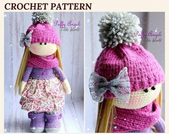 Crochet Doll Pattern Amigurumi Crochet Doll Tilda Doll Amigurumi Tutorial Doll Toy PDF Pattern in English