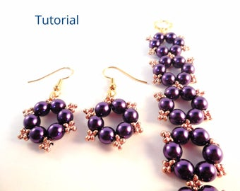 Christmas Earring Patterns - Christmas Bracelet Pattern - Beaded Bracelet and Earrings Set - Beading Patterns and Tutorials