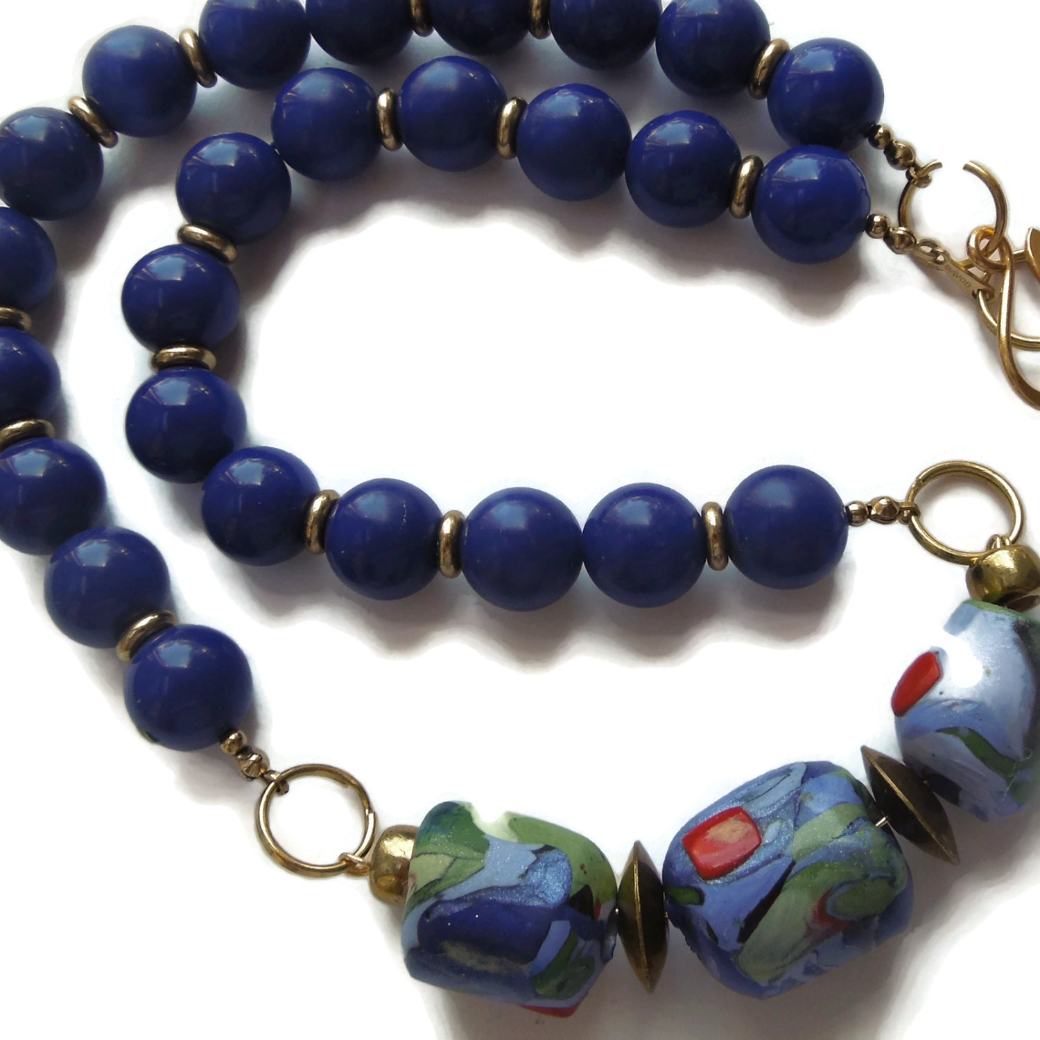 bead emoriejordon image necklace products collar blue beaded