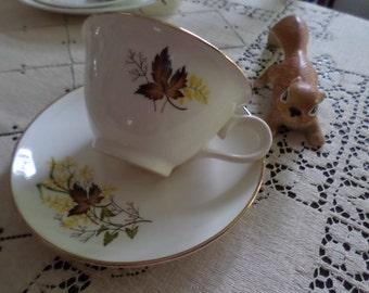 Vintage Taylor Smith Taylor-Leaf O' Gold-Tea/Coffee Cup & Saucer Set/Sets-Brown Leaf/Green Leaf/Fern Yellow