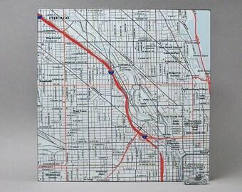 Chicago Illinois Map Block Unique Moving Graduation Office Dorm Decor Gift for Men or Women