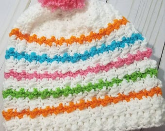 Teen/Adult or Children's Colorful Slouchy Beanie Hat Crochet