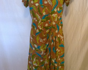 Vintage 1940's Brown novelty print silk dress - All her fairy friends