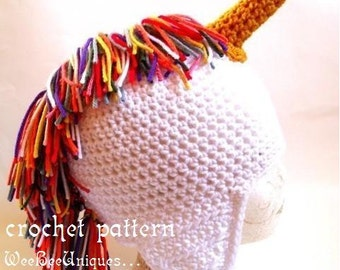 crochet pattern digital download rainbow unicorn ear flap hat sizes babies to adults