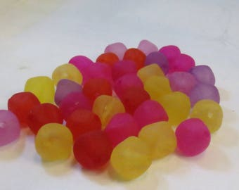 Assorted Magenta, Red, Yellow and Purple Frosted Acrylic Nugget Beads, 16mm Bicone