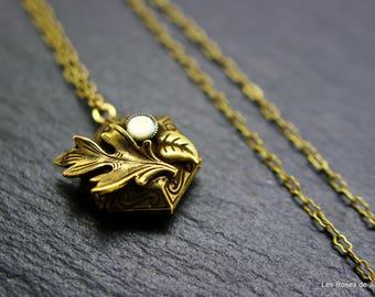 Pendant art deco locket pendant, long necklace