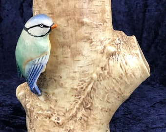 Striking Vintage Vase, Blue Tit on Stump, Garden Bird, Tit Bird, Vintage