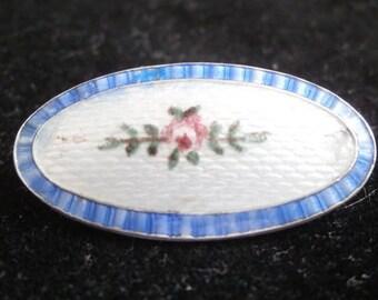 J A & S sterling silver enamel Edwardian brooch