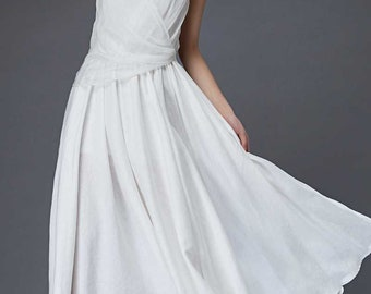 Long white dress, white dress, white dress women, white linen dress, white prom dress, maxi linen dress, linen dress, linen dress maxi C853