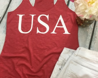 USA Tank Top - Women's Top - Patriotic Beach - Perfect for the 4th of July