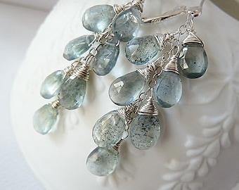 Moss Aquamarine silver earrings. Dangle earrings. March Birthstone earrings. Wire wrapped. Drop earrings. Aquamarine Silver leverback