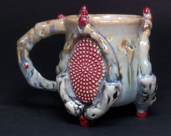 One of a Kind Handmade Crystalline Glazed Extraterrestrial Red Turquoise Grid Bone Handle Detail Ceramicgoddess Art Pottery Cup