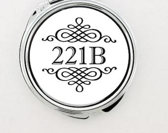 """SHERLOCK  """"221B"""" Baker Street  Original Make-up Mirror,Fan Jewelry, Great Gift"""