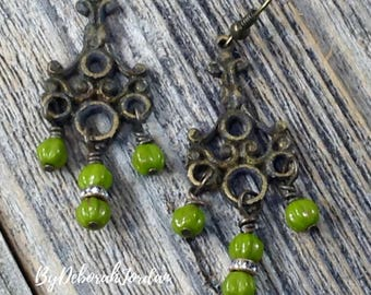 Antiqued Brass Olive Bead Earrings