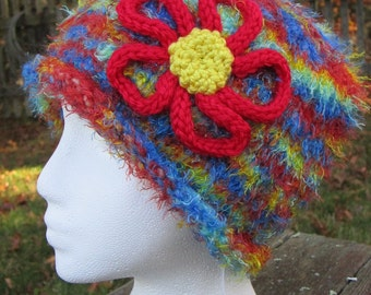 Knitted Rainbow colored warm Hat with Knitted Flower