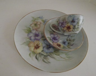 Vintage Hand Painted Limoges, Dinner Plate, Cup & Saucer, Tricolor Pansies, Signed By Artist, Shabby Chic, Circa 1920