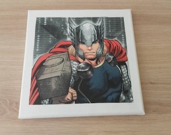 Painting on canvas - pattern Marvel Thor - support canvas 20x20cm