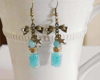 Vials, bronze and turquoise earrings