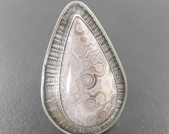 Ocean Jasper Ring, Size 8.5, orbs, purple gray silver, michele grady, teardrop ring, jasper ring, statement ring, large jasper ring, boho