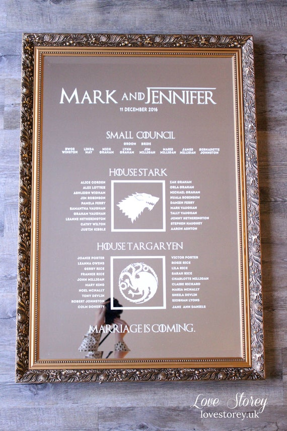 Themed Mirror Table plan Game of Thrones Beauty and Beast