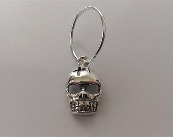 Sterling Silver Skull & Hoop Earring (single).
