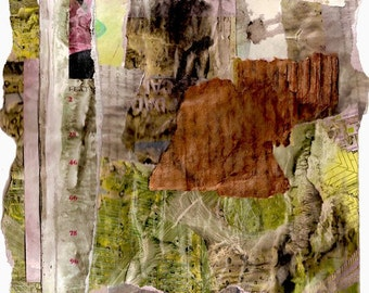 Seeing Daylight - Collage with Weathered and Hand Painted Papers 8 x 10 on 11 x 14 Backing