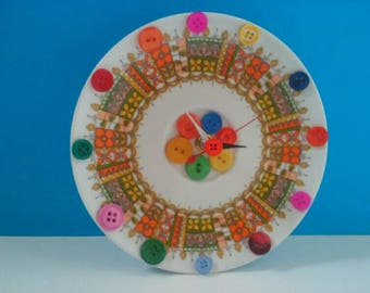 Upcycled Vintage Plate Clock, Recycled, Repurposed, Handmade Clock, Functional Art, Vintage Plate Clock, Made By Mod.