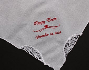 Happy Tears Wedding Hankies, Custom Date, Monogrammed Handkerchief Wedding. Father Mother Gifts. Personalized Gifts, wedding favor. LS1F38