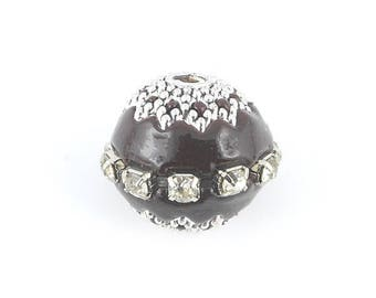 Brown rhinestone bead from Indonesia 18x15mm (28)
