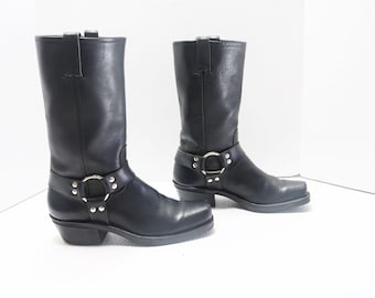 Frye women black Harness motorcycle leather  boots size 9