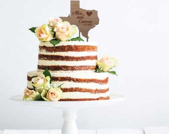 State Cake Topper, Wood Cake Topper, Rustic Wedding Decor, Personalized Cake Topper, ANY STATE SHAPE Rustic Wedding Sign, Bridal Shower