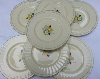 Rare Set of 7 Grindley England Art Deco Tea, Dessert, or Bread and Butter Plates