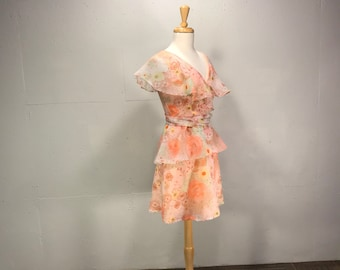 Easter floral chiffon 60s dress peach flowers layered butterfly slaves spring garden party dress polo club resort