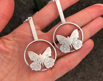 Modern Butterfly Earrings With Hoops, Sterling Drop Earrings For Best Friend, Butterfly Lover Gift, Unique Graduation Gift For Her.