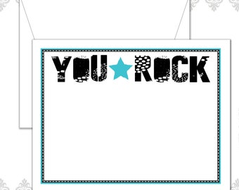 Rocker Stationery Set of 10 with envelopes, Rockstar Stationery, Black and white stationery, Band note cards, Rock Band Stationery, You Rock
