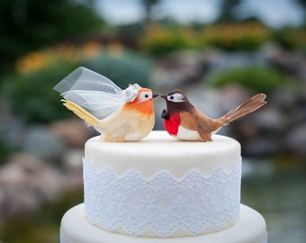 Cheeky Chickadee Wedding Cake Topper: Bride & Groom Love Bird Cake Topper -- LoveNesting Cake Toppers