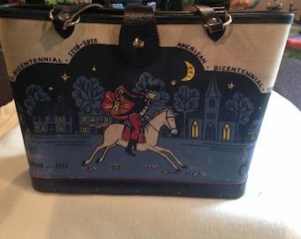 Vintage Enid Collins historic midnight ride 1775 hand decorated canvas purse