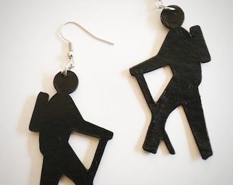 Hiker Earrings - Hiking Earrings - Outdoor Adventure- Nature Jewelry - Adventure Jewelry - Backpacking - Hand Painted - Outdoor Earrings