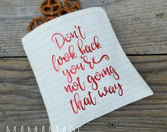 Don't Look Back - Medium Reusable Sandwich Bag from green by mamamade