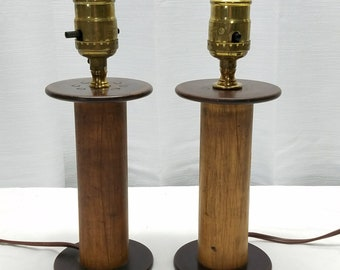 "10"" Pair Vintage Antique Thread Spool Wood Bakelite Table Lamps Primitive Folk Art Handmade Hand Made Home Decor Decoration Lighting Wooden"