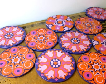 Vintage 70s coasters, set of 10, orange, pink and purple, retro party pack